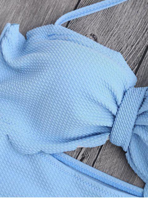maillot de bains à haute taille à feston et à bretelle américaine - Bleu clair XL Mobile
