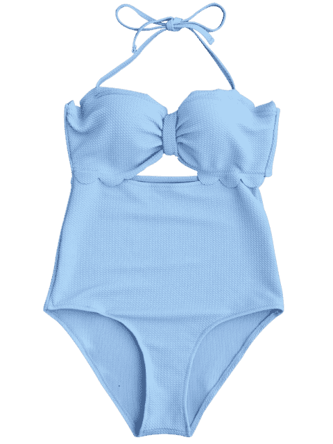 sale Cut Out High Leg Scalloped Swimwear - LIGHT BLUE L Mobile