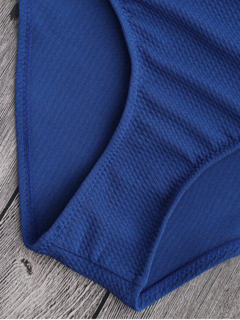 lady Cut Out High Leg Scalloped Swimwear - CERULEAN XL Mobile