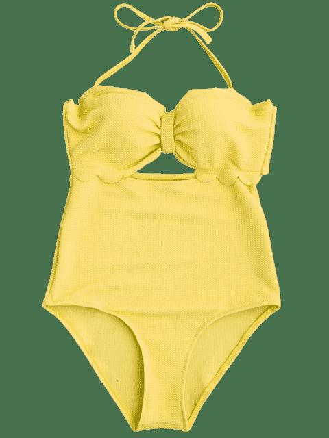 maillot de bains à haute taille à feston et à bretelle américaine - Jaune XL Mobile
