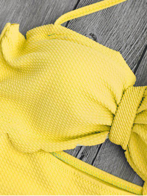 women's Cut Out High Leg Scalloped Swimwear - YELLOW L Mobile
