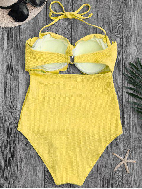 ladies Cut Out High Leg Scalloped Swimwear - YELLOW M Mobile