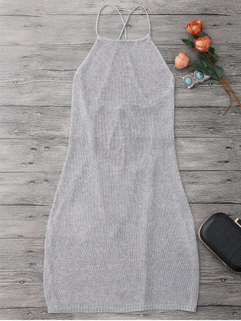 unique Strappy Apron Neck Beach Cover Up Dress - SILVER GRAY ONE SIZE Mobile