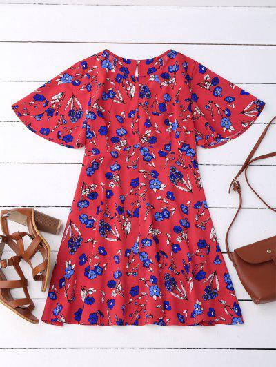 Vestido Floral Manga Larga E Costas Decotada - Vermelho L