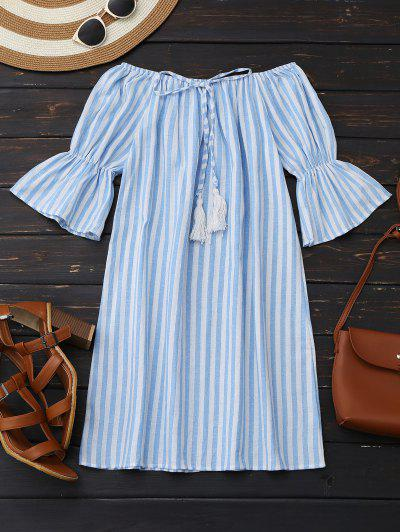 Off Shoulder Drawstring Striped Dress - Light Blue Xl