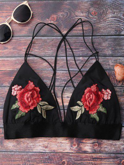 Floral Strappy Bralette Crop Top - Black S