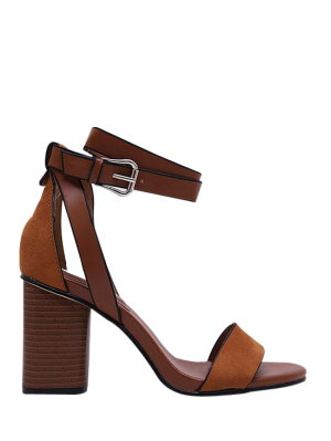 Wildleder Knöchelriemen-Sandalen mit Blockabsatz