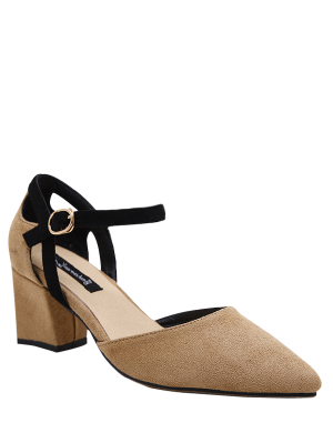Pointed Toe Suede Chunky Heel Pumps - Khaki 37