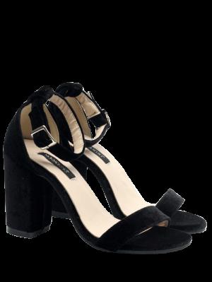 Block Heel Velvet Ankle Strap Sandals - Black 40