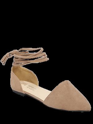 Binden Spitze Zehe flache Schuhe aus Beflockung