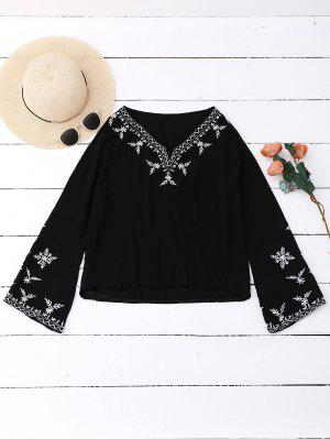 Linen Embroidered Blouse - Black