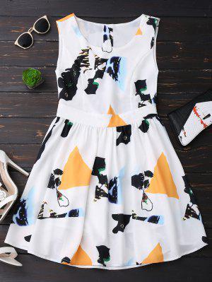 Print Back Buttoned Sleeveless Holiday Dress - Yellow L