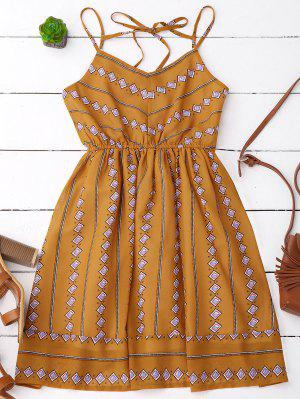 Argyle Print Slip Fit And Flare Dress - Earthy S