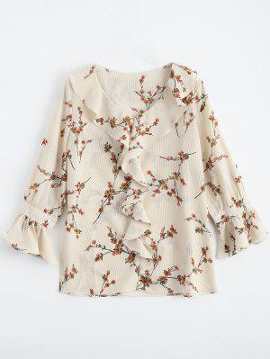 Ruffle Floral Flare Sleeve Blouse - Light Apricot L