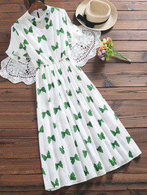 Bowknot Print Faux Pearl Choker Linen Dress - Green L