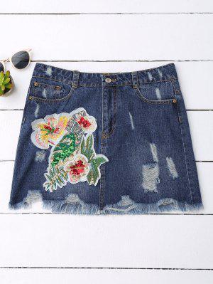 Falda De Mezclilla Con Motivos Florales De Lentejuelas - Denim Blue S