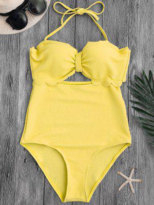 Cut Out High Leg Scalloped Swimwear - Yellow M