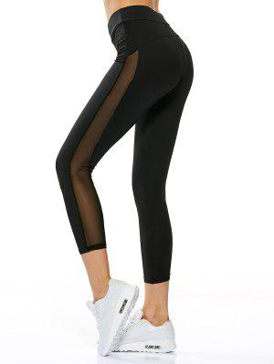 High Waisted Sheer Mesh Insert Capri Leggings