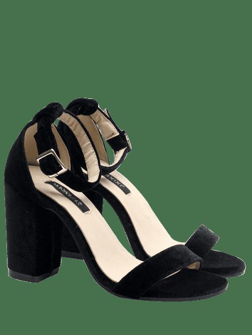 Block Heel Velvet Ankle Strap Sandals 209936904