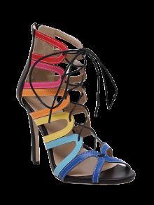 Ahueca Hacia Fuera Las Sandalias Del Bloque Del Color Del Zapato Con Cordones - Negro 38