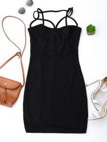 فستان حزام السباغيتي انخفاض الظهر ضيق - أسود Xl