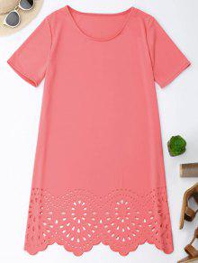 Laser Cut Tunic Shift Tee Dress - Pink M