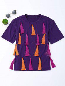Tassel Short Sleeve T-Shirt - Purple L