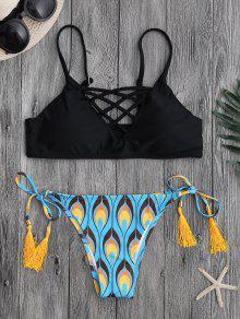 Bikini Strappy Strappy De La Secuencia Del Pavo Real - Negro S
