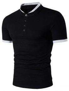 الوقوف طوق تصميم لوحة قصيرة الأكمام قميص هينلي - أسود L