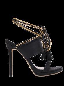 Chaussures à Lacets Sandales à Perles - Noir 37