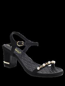 Suede Block Heel Faux Pearls Sandals - Black 37