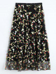 Floral Embroidered Tulle Skirt - Black S
