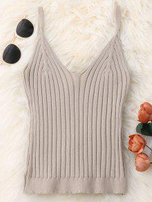 Knitted Ribbed Tank Top - Apricot