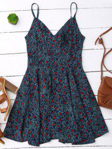 Slip Leaf Print Surplice Skater Dress - L
