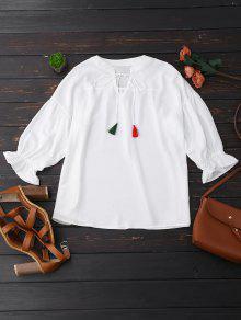Oversized Tassel Tie Neck Chiffon Blouse - White L
