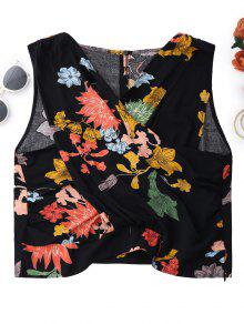 Floral Surplice Tank Top - Black S