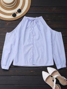 Cold Shoulder Button Up Shirt With Stripe - Light Blue Xl