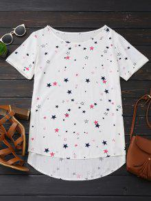 High Low Star Print Oversized Top - Off-white Xl
