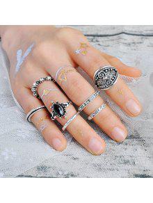 محفورة حجر الراين الغجر خاتم مجموعة - فضة