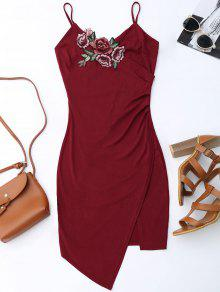 Floral Patched Asymmetrical Surplice Dress - Wine Red L