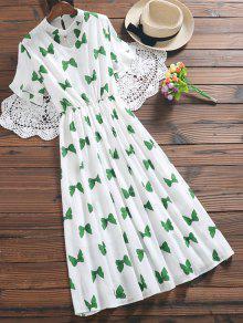 Bowknot Print Faux Pearl Choker Linen Dress - Green Xl