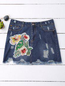 Sequins Floral Frayed Denim Skirt - Denim Blue S