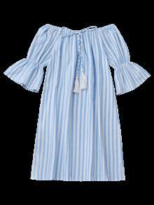 Off Shoulder Drawstring Striped Dress LIGHT BLUE: Casual Dresses S ...