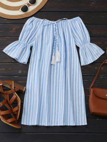 Off Shoulder Drawstring Striped Dress - Light Blue L