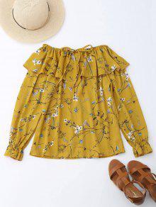 Off Blusa Con Cordones De Cordón Con Volantes De Hombro - Amarillo S