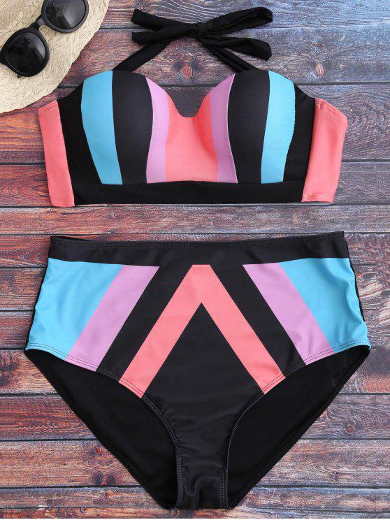 ladies Color Block Halter Plus Size Bikini - COLORMIX 2XL