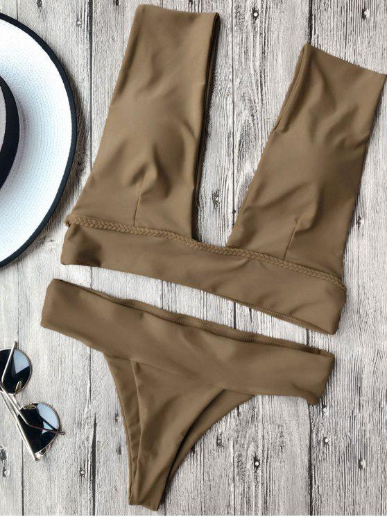 chic Soft Pad Plunge Bathing Suit - BROWN L