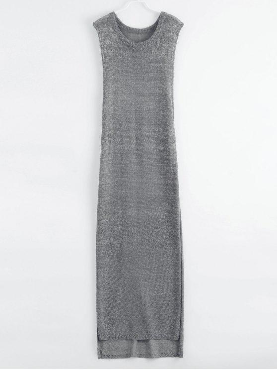 hot Drop Armhole Maxi Beach Cover Up Dress - GRAY XL