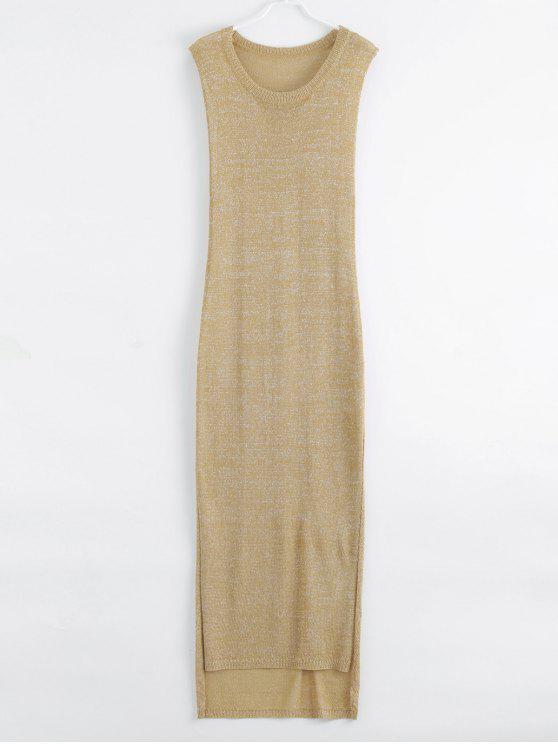 Vestido De Praia Longo Manga Curta - Dourado M