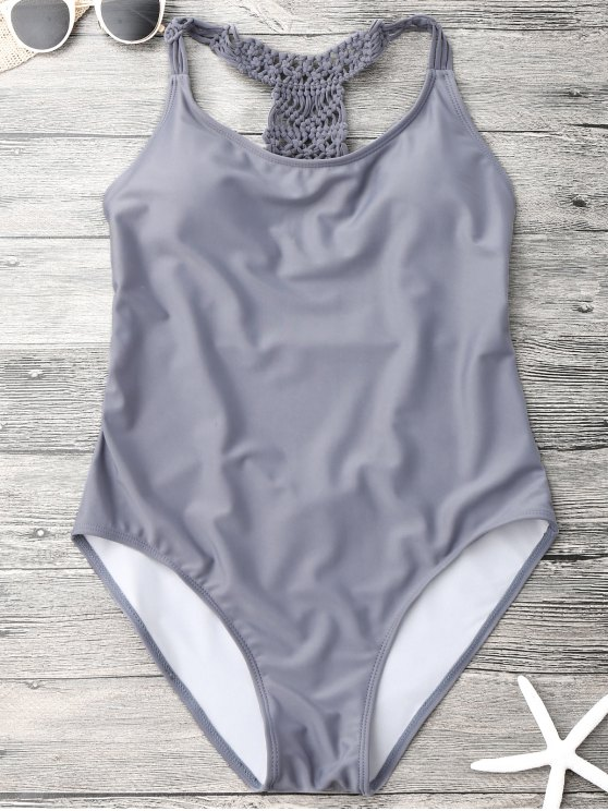 shops Macrame Open Back One Piece Swimsuit - GRAY M